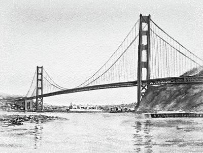 Painting - Golden Gate San Francisco Black And White Watercolor by Irina Sztukowski