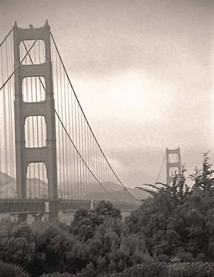 Golden Gate Sepia Art Print by Steve Ohlsen