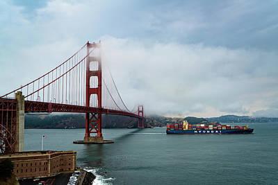 Photograph - Golden Gate Ship by Brian Bonham