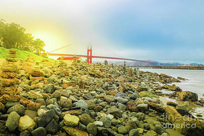 Photograph - Golden Gate Stone Sculptures by Benny Marty