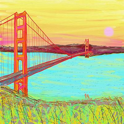 Painting - Golden Gate Sunset by Jeremy Aiyadurai
