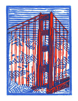 Lino Mixed Media - Golden Gate North Tower by Tom Taneyhill