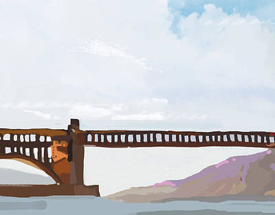 Digital Painting - Golden Gate Two by Brad Burns
