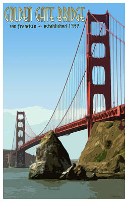 Photograph - Golden Gate Vintage Style Poster by Debby Richards