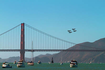 Photograph - Golden Gate With Blue Angels by Bonnie Follett