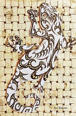 Salamanders Painting - G O L D E N   .  G E C K O by J- J- Espinoza