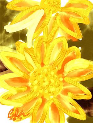 Golden Gerbers Art Print by Carl Griffasi