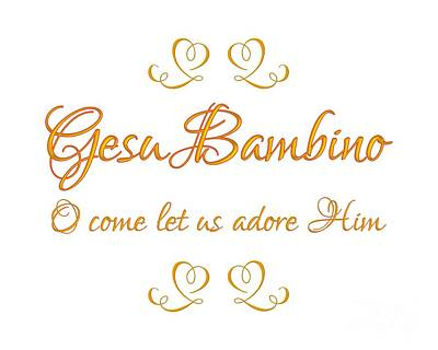 Digital Art - Golden Gesu Bambino O Come Let Us Adore Him by Rose Santuci-Sofranko