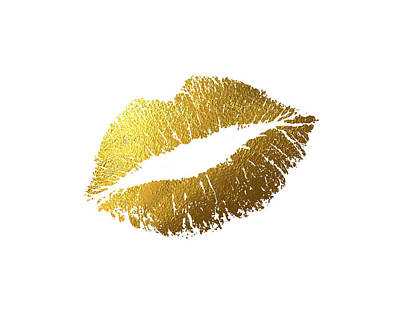 Digital Mixed Media - Gold Lips by BONB Creative
