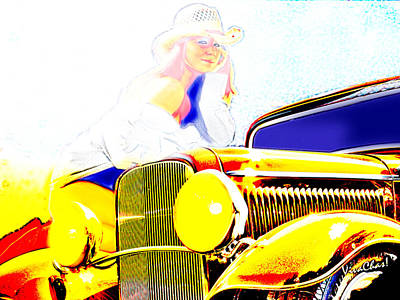 Hot Rod Digital Art - Golden Girl Makes With The Look by Chas Sinklier