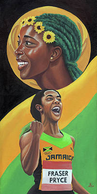 Usain Bolt Painting - Golden Girl Shelly by Kavion Robinson