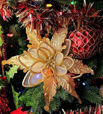 Photograph - Golden Glitter Christmas Ornaments by Sheila Brown