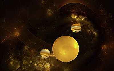 Digital Art - Golden Globes by GJ Blackman