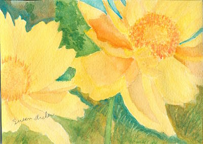 Wildflower Painting - Golden Glow With Wild Coreopsis Coreopsis Lanceolata  by Susan Archer