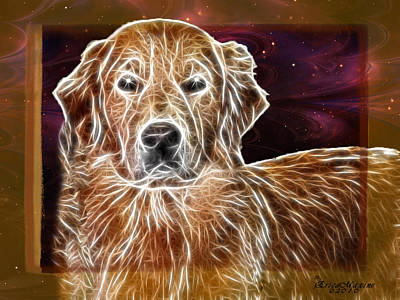 Retrievers Digital Art - Golden Glowing Retriever by EricaMaxine  Price