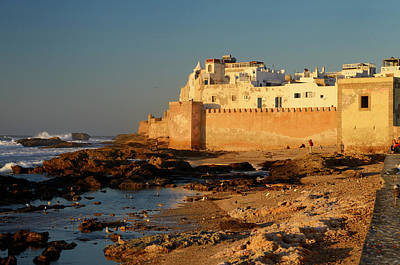 Morocco Photograph - Golden Glowing Sea Bastion Ramparts Of Essaouira Morocco At Suns by Reimar Gaertner