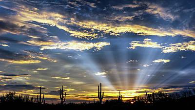 Photograph - Golden God Rays To The Desert Sky  by Saija Lehtonen