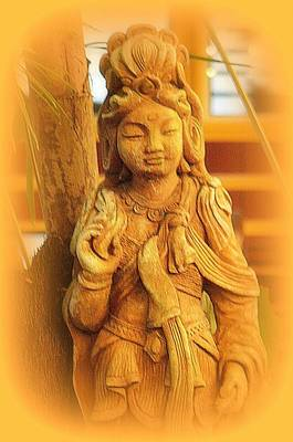 Golden Goddess Statue Art Print by Lori Seaman