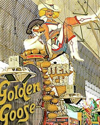 Photograph - Golden Goose Glitter Gultch Fremont Street Las Vegas Fine Art Photograph Color Neon Landscape Archit by Tim Hovde