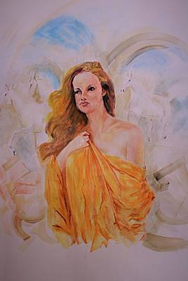 Painting - Golden Grace by Khalid Saeed