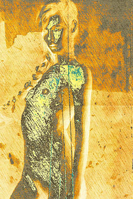 Digital Art - Golden Graffiti by Andrea Barbieri