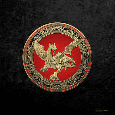 Photograph - Golden Guardian Dragon Over Black Velvet by Serge Averbukh