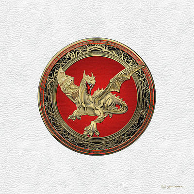 Digital Art - Golden Guardian Dragon Over White Leather by Serge Averbukh