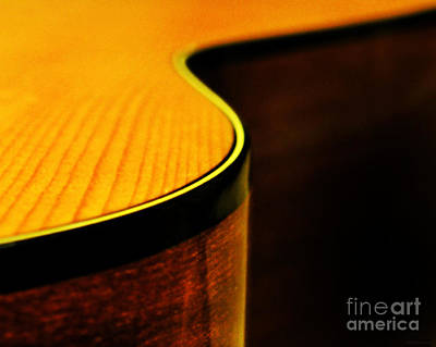 Guitar Photograph - Golden Guitar Curve by Deborah Smith