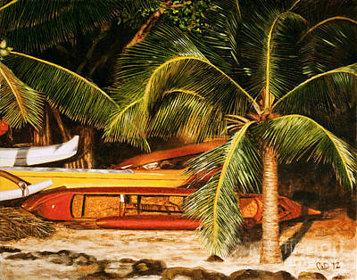 Iwa Painting - Golden Hale'iwa Canoes by Pati O'Neal