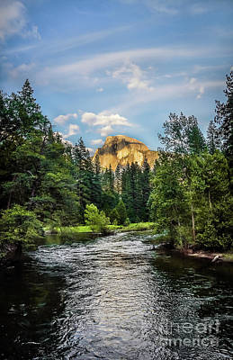 Photograph - Golden Half Dome And River At Yosemite Yosemite National Park by RicardMN Photography