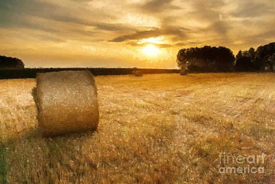Harvest Art Painting - Golden Harvest by Bedros Awak