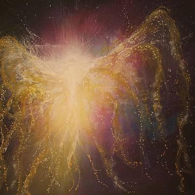 Golden Healing Angel Print by Naomi Walker