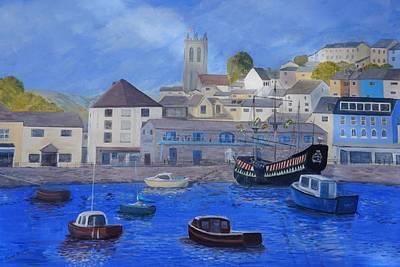 Brixham Harbour Painting - Golden Hind Brixham by Janet Davies
