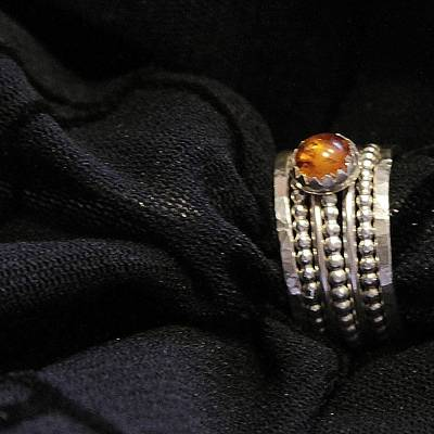 Golden Honey Baltic Amber And Stackable Sterling Silver Bold Rings Art Print by Nadina Giurgiu