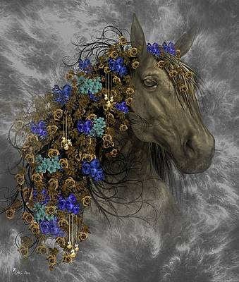 Digital Art - Golden Horse by Ali Oppy
