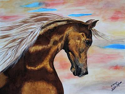 Art Print featuring the painting Golden Horse by Melita Safran