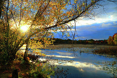 Sunset Digital Art - Golden Hour At Ipswitch River by Lilia D