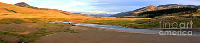 Lamar River Photograph - Golden Hour At Lamar Valley by Adam Jewell