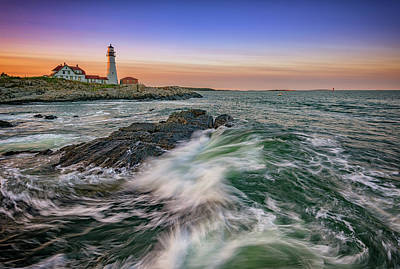 Golden Hour At Portland Head Light Art Print