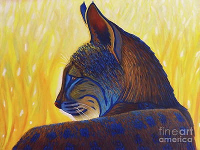 Bobcat Painting - Golden Hour Bobcat by Brian Commerford