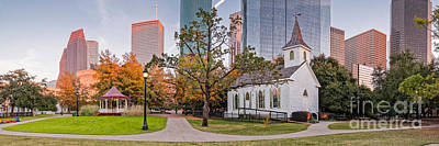 Photograph - Golden Hour Fall Panorama Of Downtown Houston And St. John Church At Sam Houston Park - Texas by Silvio Ligutti