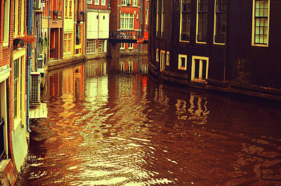 Photograph - Golden Hour In Amsterdam. Reflections by Jenny Rainbow