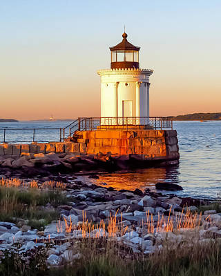 Portland Lighthouse Photograph - Golden Hour by Laurie Breton
