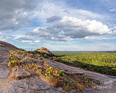 Photograph - Golden Hour Light On Turkey Peak And Prickly Pear Cacti - Enchanted Rock Fredericksburg Hill Country by Silvio Ligutti