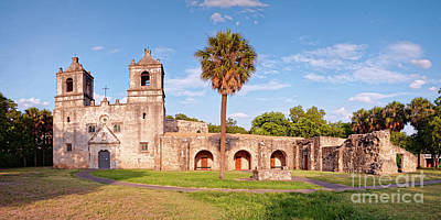 Photograph - Golden Hour Panorama Of Mission Concepcion - San Antonio Missions National Historical Park - Texas by Silvio Ligutti