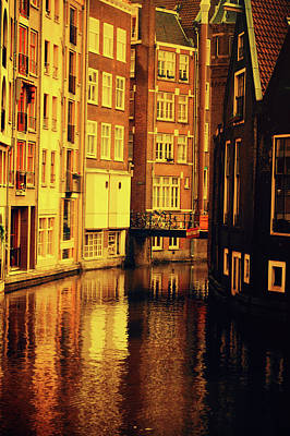 Photograph - Golden Hour Reflections In Amsterdam by Jenny Rainbow