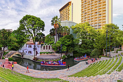 Golden Hour Shot Of Arneson River Theatre At La Villita San Antonio Riverwalk - Bexar County Texas Art Print by Silvio Ligutti