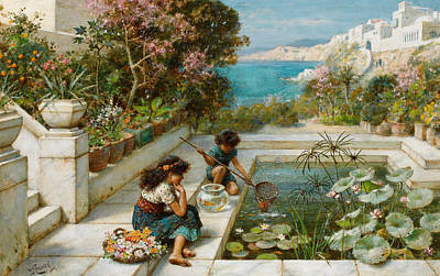 Fish Pond Painting - Golden Hours In Olden Times by William Stephen Coleman