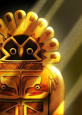Digital Art - Golden Idol Native American Hawk God by John Wills