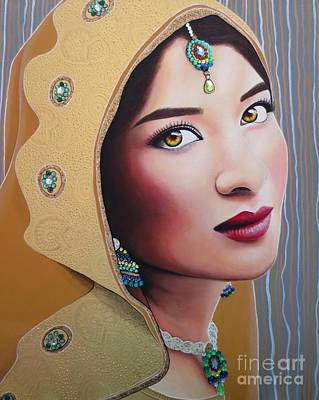 Painting - Golden Indian Bride by Malinda Prudhomme